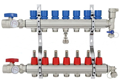 7 Branch Brass Radiant Heat Manifold Set